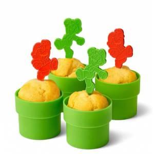 Super Mario Home & Party Muffin Cup (Clay Pipe) & Pick (Mario / Luigi) [Goods]